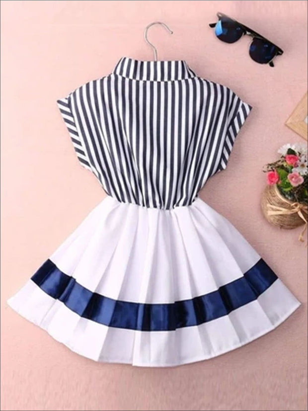 Girls Navy Nautical Striped Pleated Skirted Dress - Girls Spring Casual Dress