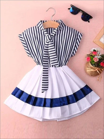 Girls Navy Nautical Striped Pleated Skirted Dress - Multi / 2T - Girls Spring Casual Dress