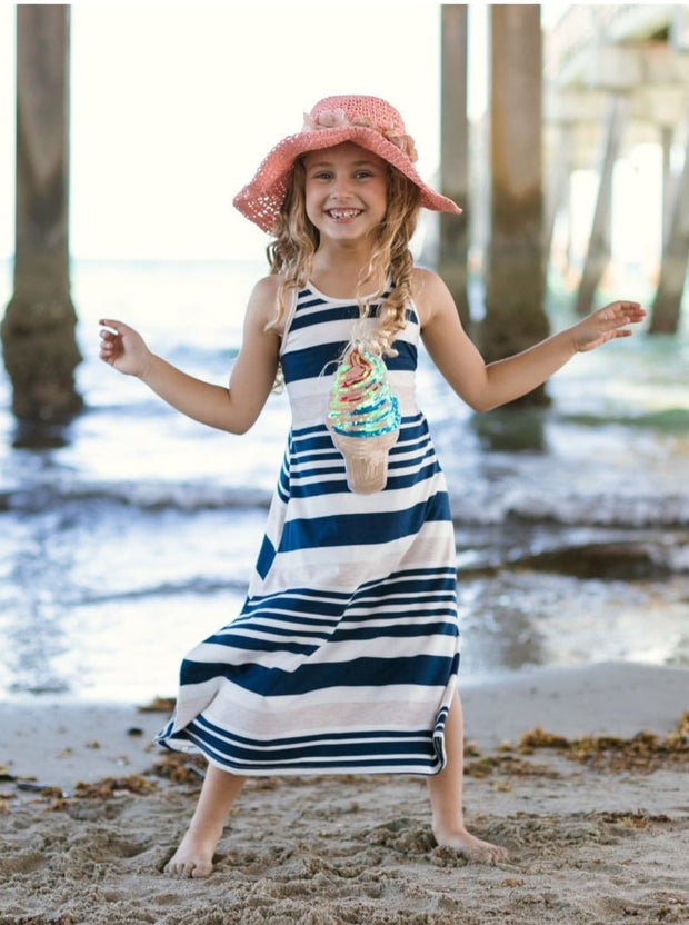 Girls Navy & Oatmeal Striped Ice Cream Applique Maxi Dress - Girls Maxi Dress 4th of July Dress