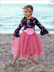 Girls Navy & Pink Tutu Skirt Flare Sleeve Dress - Fall Low Stock