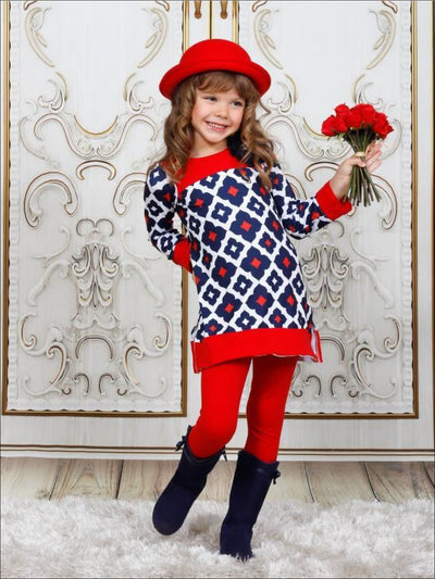 Girls Navy Red & Creme Medallion Print Long Sleeve Side Slit Tunic & Matching Leggings Set - Girls Fall Casual Set