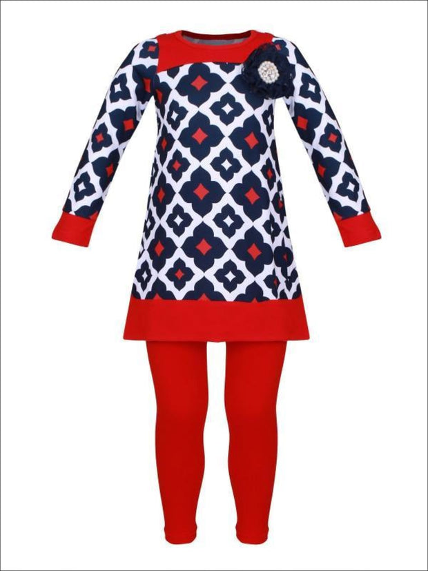 Girls Navy Red & Creme Medallion Print Long Sleeve Side Slit Tunic & Matching Leggings Set - Red / 2T/3T - Girls Fall Casual Set