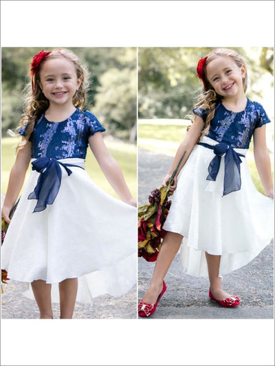 Girls Navy Sequin Short Sleeve Belted Dress - Fall Low Stock