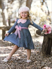 Girls Navy Shimmer Sparkle Sweater Dress with Pink Belt & Pink Bow Detail - Girls Fall Dressy Dressy