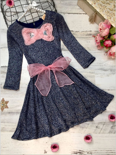 Girls Navy Shimmer Sparkle Sweater Dress with Pink Belt & Pink Bow Detail - 3T / Navy - Girls Fall Dressy Dressy