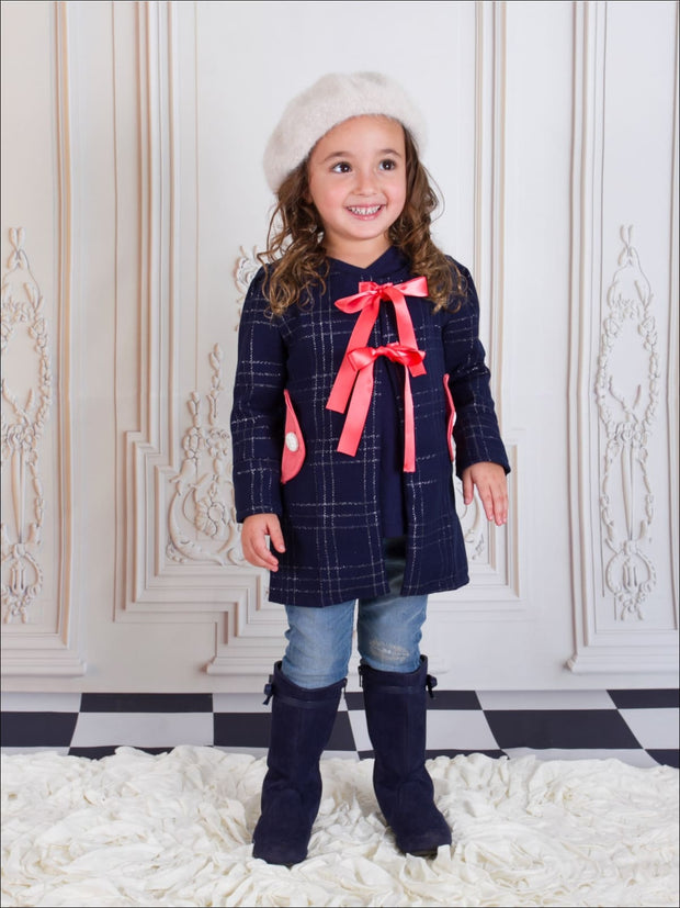 Girls Navy & Silver Lattice Bow Peacoat - Girls Fall Dress