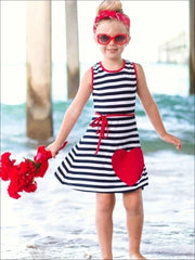 Girls Navy Striped A-Line Dress with Large Heart Applique - Girls Spring Casual Dress