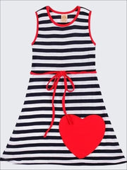 Girls Navy Striped A-Line Dress with Large Heart Applique - Navy/White/Red / 2T/3T - Girls Spring Casual Dress