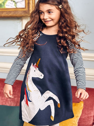 Girls Navy Striped Long Sleeve Unicorn Print Dress - Navy / 2T - Girls Fall Casual Dress