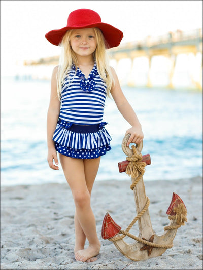 Girls Navy Striped & Polka Dot Ruffled One Piece Swimsuit with Bows - Navy / 5Y/6Y - Girls One Piece Swimsuit