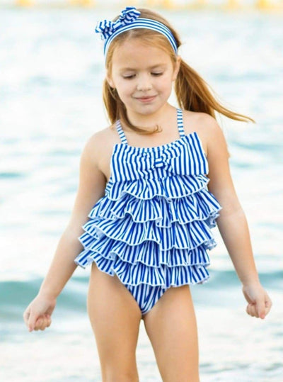 Girls Navy Striped Tiered Ruffled One Piece Swimsuit with Bow & Matching Headband - Girls One Piece Swimsuit