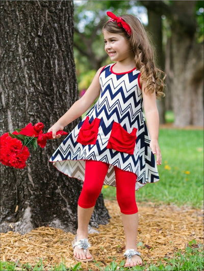 Girls Navy & White Geo Print 2-Pocket Hi-Low Sleeveless Tunic & Red Capri Legging Set - Girls Spring Casual Set