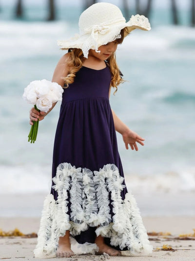 Girls Navy & White Halter Ruffled Mesh Bottom Hi-Lo Dress - Girls Spring Casual Dress