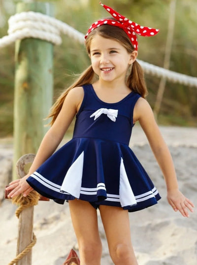 Girls Navy & White Nautical Skirted Two Piece Swimsuit with Bow - Girls Two Piece Swimsuit