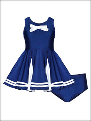 Girls Navy & White Nautical Skirted Two Piece Swimsuit with Bow - Navy / 2T/3T - Girls Two Piece Swimsuit