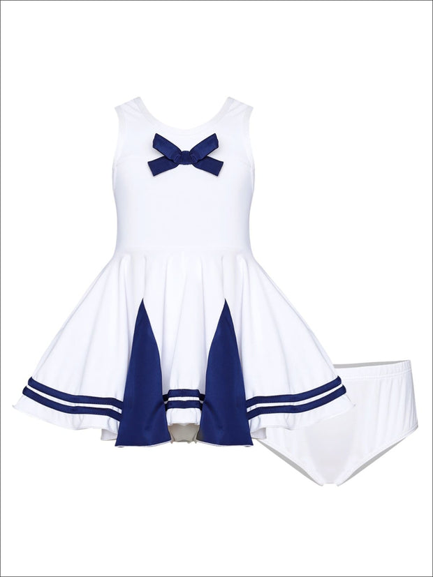 Girls Navy & White Nautical Skirted Two Piece Swimsuit with Bow - White / 2T/3T - Girls Two Piece Swimsuit