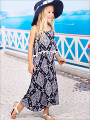 Girls Navy & White Spaghetti Strap Maxi Dress - Girls Spring Casual Dress