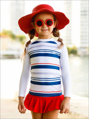 Girls Navy & White Striped Long Sleeve Top & Red Skirted Bottom Rash Guard Swimsuit - Girls One Piece Swimsuit