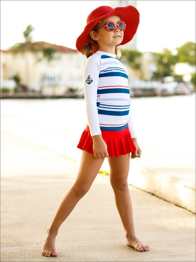 Girls Navy & White Striped Long Sleeve Top & Red Skirted Bottom Rash Guard Swimsuit - Navy / 4T/5Y - Girls One Piece Swimsuit