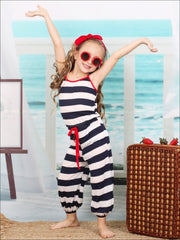 Girls Navy/Ivory Capri Balloon Jumpsuit with Elastic Waist - Girls Jumpsuit