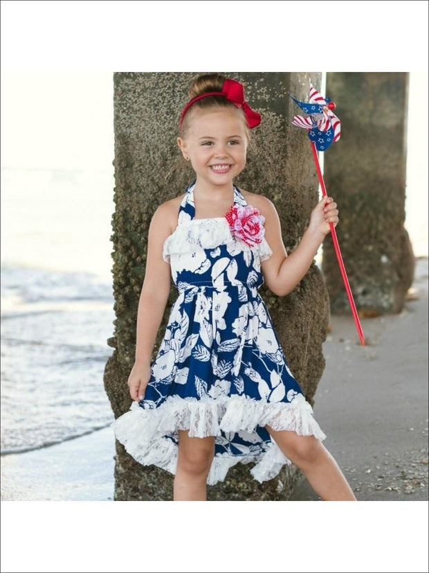Girls Navy/Ivory Palm Leaf Print Hi-Low Elastic Waist Sundress w/ Lace Ruffles - Girls Hi-Low Twirl Dress 4th of July Outfit