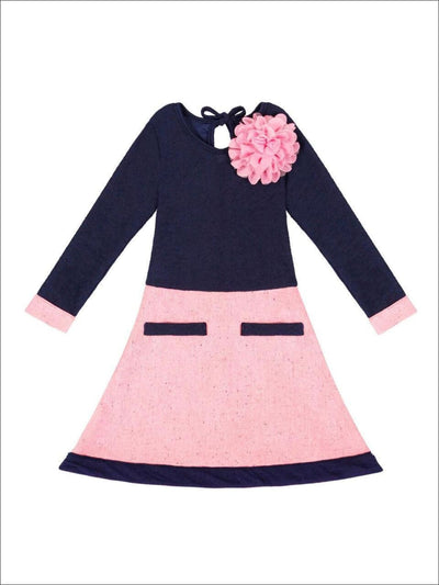 Girls Navy/Pink A-Line Tweed Dress With Faux Pockets - Girls Fall Casual Dress