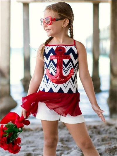 Girls Navy/White/Red Hi-Low Ruffled Tank Top - Girls Spring Top