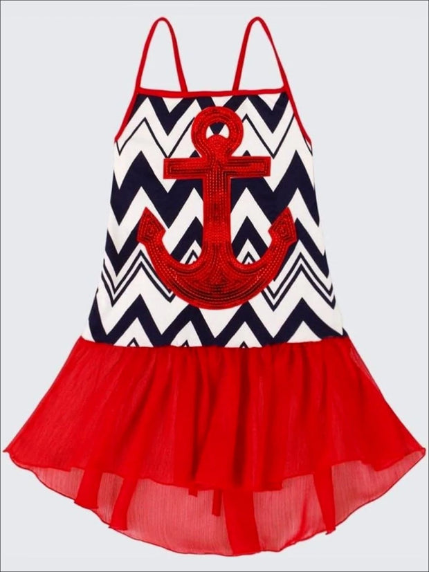 Girls Navy/White/Red Hi-Low Ruffled Tank Top - Navy/White/Red / 2T/3T - Girls Spring Top