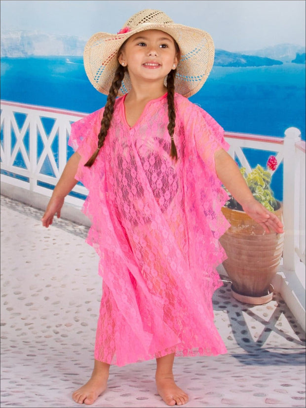Girls Neon Pink Floral Crochet Kaftan Cover Up - Girls Swimsuit Cover Up