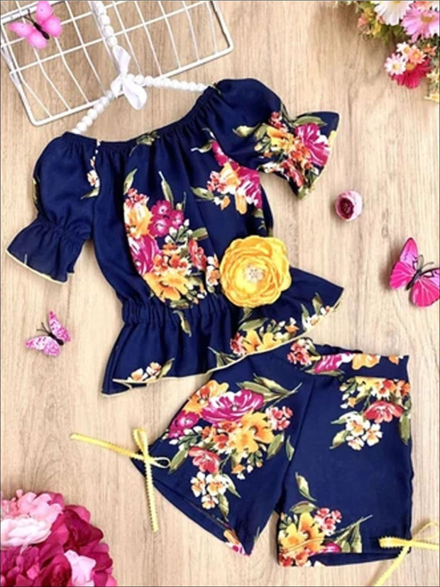 Girls Off Shoulder Boho Ruffle Sleeve and Shorts Set - Navy / 2T/3T - Girls Spring Casual Set