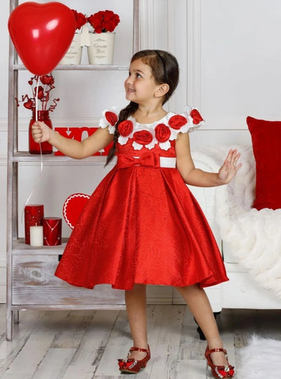 Girls Off Shoulder Flower Applique Holiday Dress - Girls Fall Dressy Dress