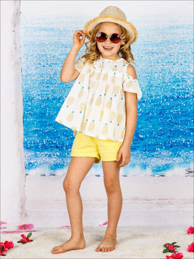 Girls Off Shoulder Pineapple Print Tunic & Shorts Set ( 2 Color Options) - Yellow / 2T - Girls Spring Casual Set