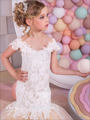 Girls Off The Shoulder Lace Mermaid Communion & Flower Girl Gown - Girls Gown