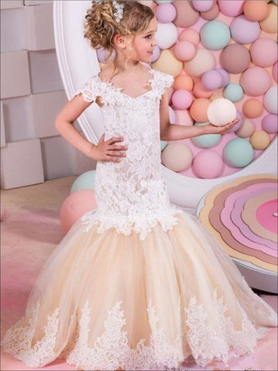 Girls Off The Shoulder Lace Mermaid Communion & Flower Girl Gown - White / 2T - Girls Gown
