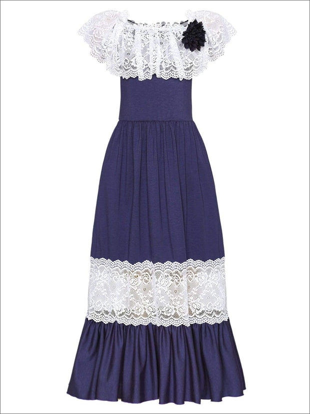 Girls Off the Shoulder Lace Ruffle & Insert Maxi Dress with Flower Clip - Navy / 2T/3T - Girls Spring Dressy Dress