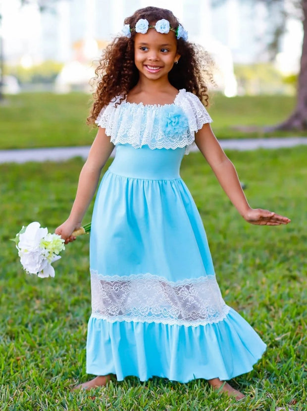 Girls Off the Shoulder Lace Ruffle & Insert Maxi Dress with Flower Clip - Girls Spring Dressy Dress