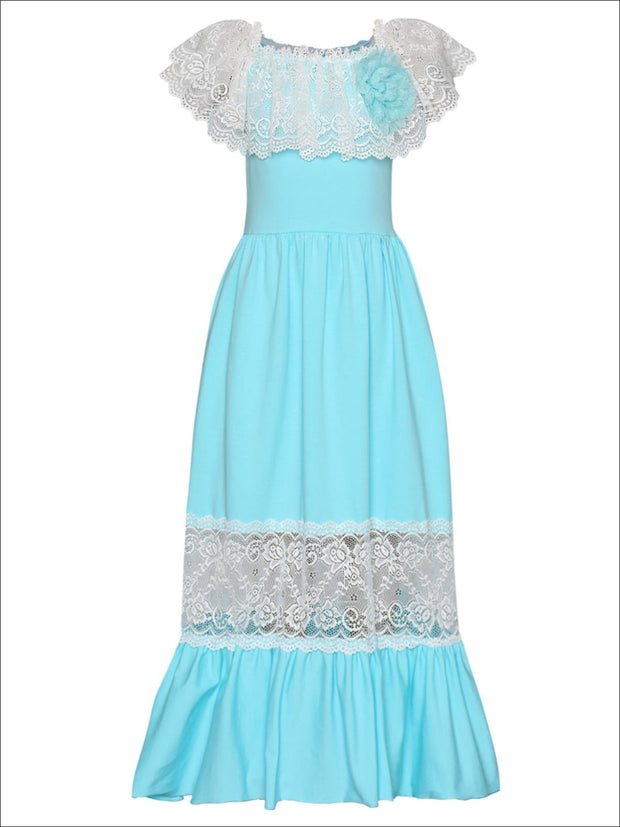 Girls Off the Shoulder Lace Ruffle & Insert Maxi Dress with Flower Clip - Mint / 2T/3T - Girls Spring Dressy Dress