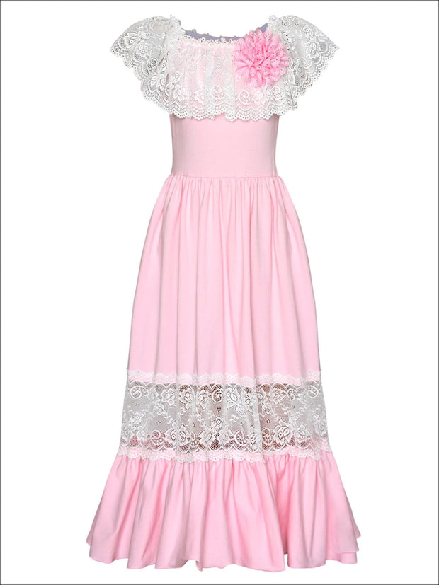 Girls Off the Shoulder Lace Ruffle & Insert Maxi Dress with Flower Clip - Pink / 2T/3T - Girls Spring Dressy Dress