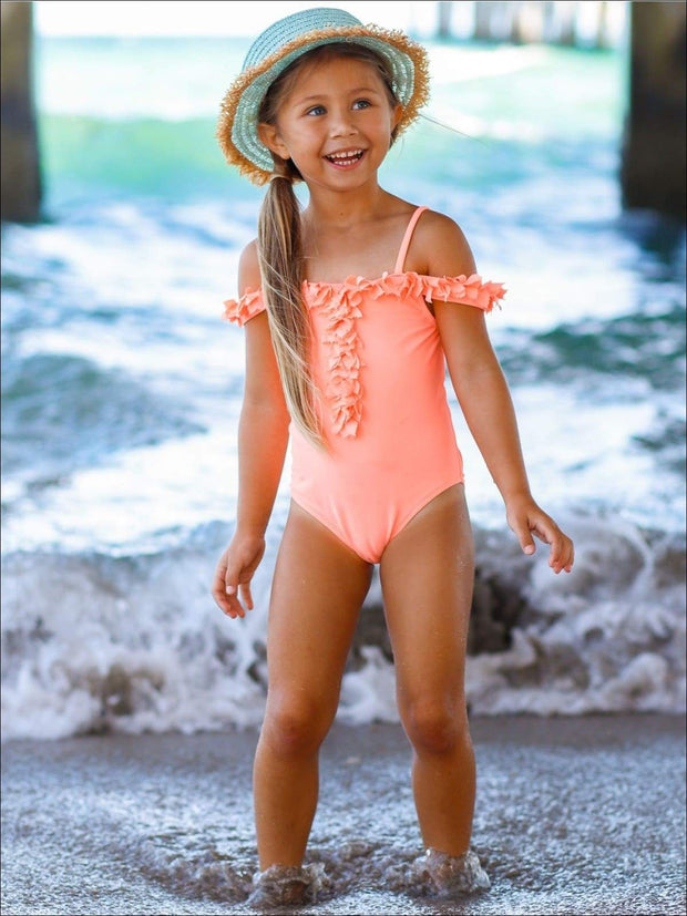 Girls Off the Shoulder Petal One Piece Swimsuit - Girls One Piece Swimsuit