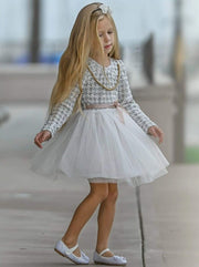 Girls Off White & Taupe Houndstooth Long Sleeve Tutu Dress - Girls Fall Dressy Dress