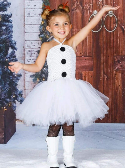 Girls Olaf from Frozen Inspired Snowman Halloween Tutu Dress - White / 2T - Girls Halloween Costume
