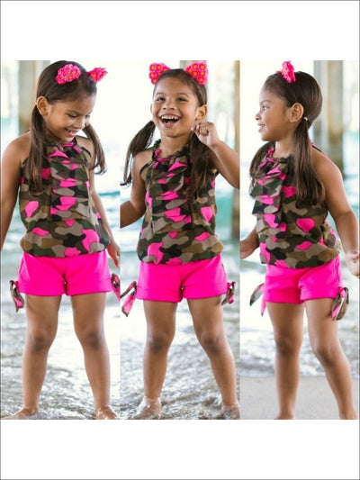 Girls Olive Camouflage Cindy Top & Fuchsia Shorts - 2T/3T / Olive/Fuchsia - Girls Shorts Set