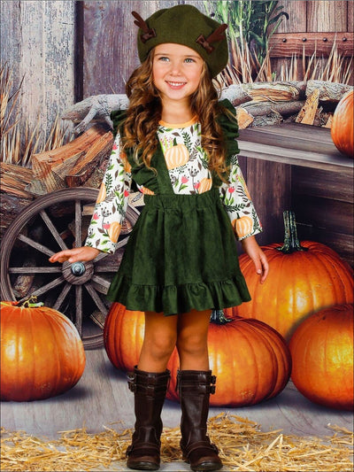 Girls Olive Green Ruffled Overall Dress & Long Sleeve Pumpkin Leaves Print Top Set - Girls Fall Casual Set