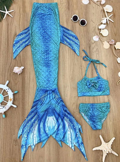 Girls Ombre Mermaid Scales Print Two Piece Swimsuit With Tail Skirt - Blue / 3T/4T - Girls Mermaid Swimsuit