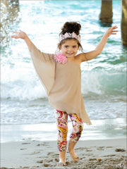 Girls One Shoulder Asymmetric Hem Tunic & Capri Leggings Set - Girls Spring Casual Set
