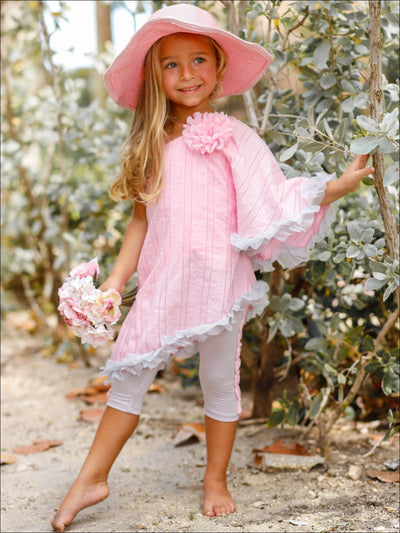 Girls One Shoulder Asymmetric Hem Tunic & Capri Leggings Set - Pink / 2T/3T - Girls Spring Casual Set
