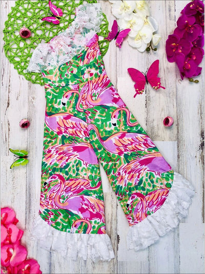 Girls One Shoulder Flamingo Print Lace Ruffled Palazzo Jumpsuit with Satin Sash - Pink & Green / 2T/3T - Girls Jumpsuit