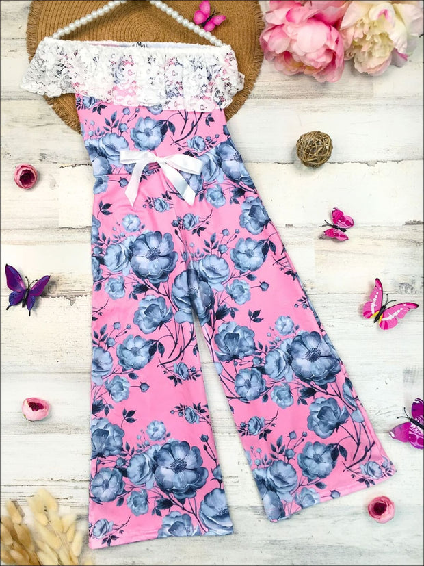 Girls One Shoulder Lace Ruffle Elastic Waist Palazzo Jumpsuit with Bow - Pink / 2T/3T - Girls Jumpsuit