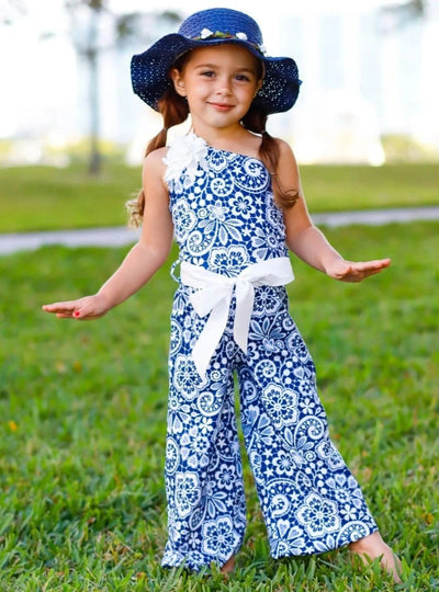 Girls One Shoulder Palazzo Jumpsuit with Flower Trim - Girls Jumpsuit