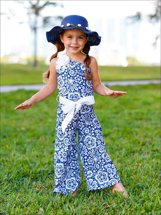 Girls One Shoulder Palazzo Jumpsuit with Flower Trim - Blue / 2T/3T - Girls Jumpsuit